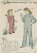 An original ca. 1943 Du Barry Pattern 5744.  Child's and Girl's Pajamas. Top buttons in front below the convertible neckline. Patch pocket trims right front. Long or short sleeves may be used. Trousers are joined at upper edge to a waistband.