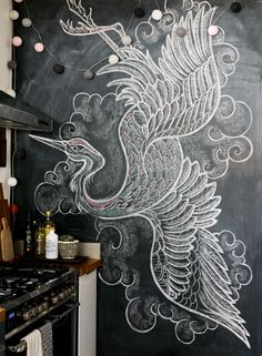 How to create a mural wall: 10 top tips Blackboard Wall, Chalk Wall, Chalkboard Drawings, Chalkboard Art, Blackboard Drawing, Mural Art, Wall Murals, Doodle Wall, Dado Rail