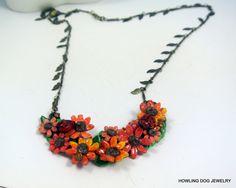 Orange Sunflowers necklace, handmade, polymer sunflowers, Leaf chain, Howling Dog Jewelry by HowlingDogJewelry on Etsy