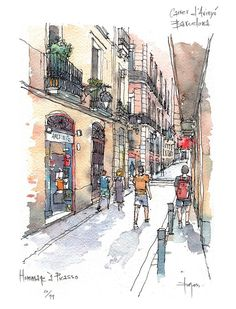 ideas travel journal sketchbook watercolour for 2019 Urban Sketching, Art Sketchbook, Architecture Drawing Sketchbooks, City Sketch, Sketch Painting, Watercolor Architecture, City Drawing, Landscape Art, Landscape Drawings