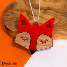 Fox Necklace, Fox Jewellery, Fox Pendant, Laser Cut Fox, Acrylic Statement Jewelry, Wood Jewellery, Scandinavian Design, Retro Red Fox Face
