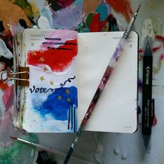 Day 313 of 366, create tomorrow by showing up today.  #artoftheday #vote #design #dosomething #getmovinghavefun #maketodaycount #goldenpaints #blickartmaterials #moleskineart #artobsessed #inspire #artjournal #illustration #sketch #instart #color #starsandstripes #america #366project #366challenge #californiaartist #sanfranciscoeastbay #eastbayartist #instaartist #livermorewinecountry#rockthevote#arteveryday #electionday #usa