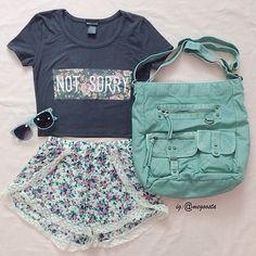 Blue outfits for teens, school outfits, cute summer outfits, spring Cute Summer Outfits, Outfits For Teens, Spring Outfits, Cute Outfits, Summer Shorts, School Outfits, Outfit Summer, Cute Fashion, Teen Fashion