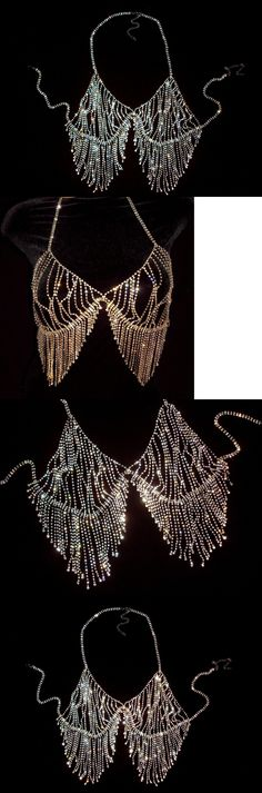 Body Chains 98526: Rhinestone Bra Breast Necklace Tassel Gold Silver Dancer Stripper Club Bling New -> BUY IT NOW ONLY: $44.97 on eBay!