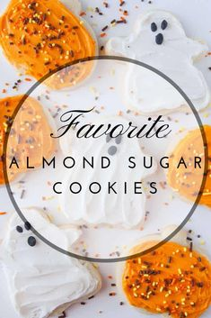 My favorite almond sugar cookies are easy, roll out, cut out sugar cookies! They are delicious with frosting, decorated with icing or topped with sprinkles! Roll Out Sugar Cookies, Sugar Cookie Frosting, Icing, Fun Desserts, Dessert Recipes, Baking Recipes, Thanksgiving Recipes, Fall Recipes, Soft Almond Cookies