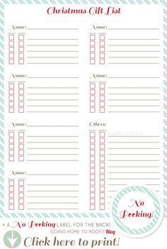 keep organized: printable christmas gift list