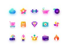 Icons designed by Len. Connect with them on Dribbble; the global community for designers and creative professionals. Design Ios, Game Ui Design, Flat Design Icons, App Icon Design, Flat Icons, Motion Design, Design Thinking, Sound Logo, Launcher Icon