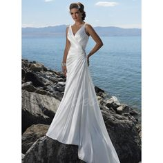 Sheath / Column Spaghetti V-neck Court Train Satin Wedding Dress