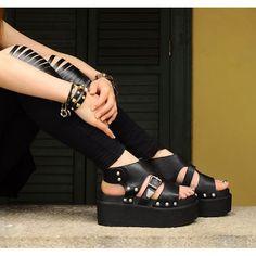 Black Studded Flat Punk Goth Biker Summer Sandals Shoes Women Cheap SKU-11405225 #dental #poker