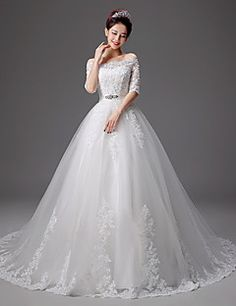 A Line Sweetheart Ball Gown Chapel Court Train Wedding Dress – USD $ 200.00