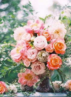 Gorgeous blooms: http://www.stylemepretty.com/2014/10/24/romantic-outdoor-wedding-amongst-the-trees/ | Photography: Odalys Mendez - http://www.odalysmendezphotography.com/