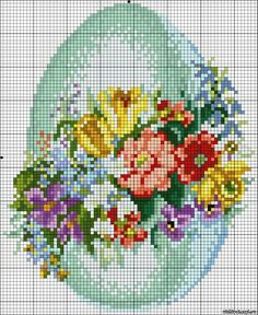 Easter egg w flowers Cross stitch *♥* Point de croix Counted Cross Stitch Patterns, Cross Stitch Charts, Cross Stitch Designs, Cross Stitch Embroidery, Easter Cross, Cross Stitch Flowers, Christmas Cross, Cross Stitching, Crafts
