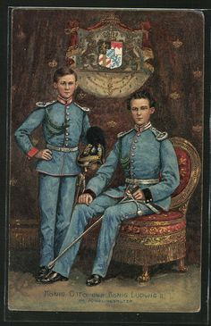 King Ludwig II of Bavaria with His Successor Otto 1900s.  These little princes may or may not have become insane.