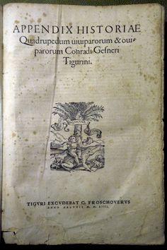 """#GESSNER (Conrad) Historiae animalium. Liber III - anno MDLIIII (1554) Collezione privata """"Frilli"""" Forte dei Marmi. Prima edizione. Frontespizio.  #frillilibrary"""