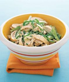 A garnish of tarragon leaves finishes off fresh chicken salad. | Whether served straight from the grill or in a salad, chicken makes an easy meal.
