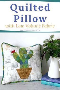 Learn how to make this strip pieced quilted pillow that uses low volume fabrics. Add the adorable cactus applique to make it even more festive. #strippiecing #cactusapplique #howtoquilt Quilting Tips, Quilting Projects, Quilting Designs, Quilt Patterns Free, Pillow Patterns, Pillow Ideas, Low Volume Quilt, Pillow Tutorial, How To Make Pillows