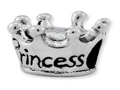 Kids Personalized Sterling Silver Princess Crown Charm Bead (Online at Gemologica.com)