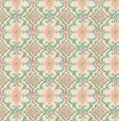 A modern upholstery fabric in a medium-scale ikat design of coral, jade green, cocoa brown and ivory. This durable home decor fabric is suitable for furniture upholstery, pillows and fabric headboards. Please use the drop down box for your choice of fabric by the yard, pillows or lined curtains. Scroll down to see item descriptions. FABRIC SAMPLES: Fabric Name for Sample Order: Leslie Order Fabric Swatches Here: https://www.etsy.com/listing/125101789/fabric-sample-o...