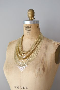 gold Whiting and Davis necklace | vintage CHAIN-MAILLE bib necklace