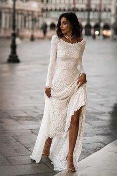Langarm Brautkleid, Spitze mit langen Ärmeln, Boho – Mode Schmuck Trends Long sleeve wedding dress, lace with long sleeves, boho # sleeves # boho # bridal dress # long sleeve # long … Wedding Dress Collar, Indie Wedding Dress, Lace Wedding Dress With Sleeves, Long Sleeve Wedding, Modest Wedding Dresses, Lace Dress, Boho Dress, Maxi Dresses, Collar Dress