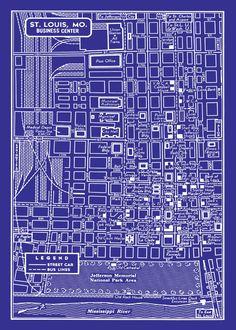 1949 Map of Downtown St Louis: Seashore Prints