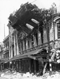 Colombo Street wall of Ballantyne's department store being demolished by army engineers after the 1947 fire. The wall was removed to ensure the saf. South Pacific, Pacific Ocean, Christchurch New Zealand, State Of Arizona, Fire Engine, Old Skool, Department Store, Old Photos, Buildings