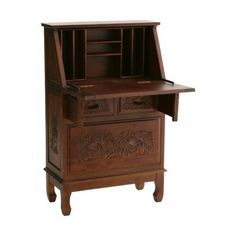 This elegant secretary desk comes with beautiful nature-themed carvings that will add style to your home office. This hardwood desk features hand crafted and carved floral patterns on the front and sides, adding depth and personality. This desk has a large drawer, two small drawers, a drop front for ample desk space and a removable organizer. Its also easy to clean with a dry cloth.
