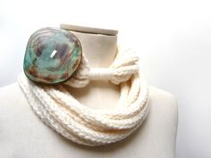 Knit Infinity Scarf Necklace Loop Scarlette Neckwarmer  by ixela, $40.00