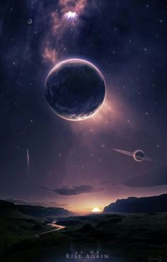 Astronomy Universe A beautiful fantasy or science fiction landscape, with planets in the sky above. - Dragon t-shirt Galaxy Wallpaper, Wallpaper Backgrounds, Iphone Wallpaper, Fantasy World, Fantasy Art, Dream Fantasy, Space Fantasy, Fantasy Landscape, Outer Space