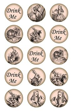 Bottle Cap Images to Print alice in wonderland | Alice in Wonderland Circle.1 inch Bottle cap. Printable download for ...