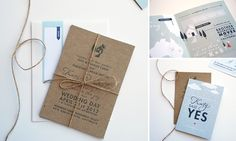 A wedding invitation tied with a bowtie string