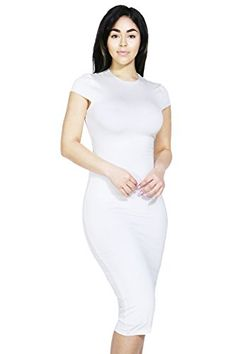 Women Classic Elengant Stretch Solid Basic Short Sleeve Bodycon Cocktail Dress Small White-D24646 Bodycon Cocktail Dress, Bodycon Dress, Dress Up, High Neck Dress, Basic Shorts, Night Out Outfit, White Midi Dress, Fashion Beauty, Womens Fashion