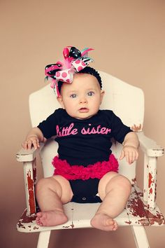 Boutique Lil Sister Onesy & matching zebra headband is absolutely adorable!! A must have!! Thought of Kora!