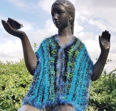 Luxurious Faux Fur Stole, vest/top/cloak/cape turquosie/black Hand Knitted, Faux Fur Collar, from jeans to Evening Shawl, Formal Evening