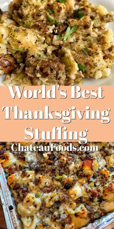 Enjoy this classic and easy Thanksgiving Stuffing Recipe alongside your roasted turkey! Filled with seasoned bread, onions, celery and mushrooms, this stuffing is the perfect addition to your holiday dinner table! Thanksgiving Casserole, Thanksgiving Dinner Menu, Stuffing Recipes For Thanksgiving, Holiday Dinner, Thanksgiving Desserts, Christmas Desserts, Christmas Recipes, Easy Thanksgiving Side Dishes, Holiday Recipes