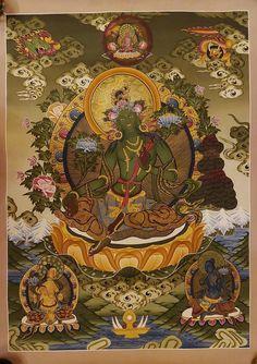 Green Tara Thangka Painting for wall hanging - Home decor Buddhist Wheel Of Life, Buddha, Thangka Painting, Green Tara, Deities, Namaste, Tibet, Magazines, Color