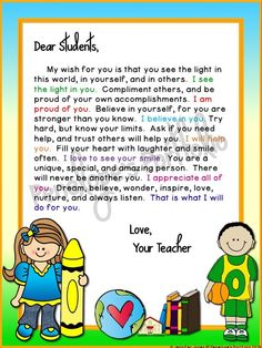 Teacher Wisdom: Classroom Management Tips focused on Character Education Letter To Students, Letter To Teacher, Dear Students, Letter To Parents, Meet The Teacher, Parent Letters, Teacher Message, Welcome Students, Teacher Notes