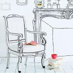 Fauteuil recouvert de plâtre et peinture blanche avec silhouette dessinée en noir - Marie-Claire Idées n°82