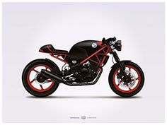 Honda Custom CBR250R Illustration Poster Print 18x24 Horizontal GarageProject101