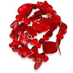 Style&co. Gold-Tone Red Shell Three-Row Stretch Bracelet ($18) ❤ liked on Polyvore featuring jewelry, bracelets, red, red bangles, beading jewelry, stretch jewelry, sea shell jewelry and gold tone jewelry