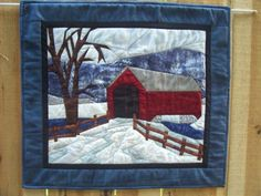Quilted Landscape Snow Scene and Covered Bridge Art Quilt by Serena Toppins