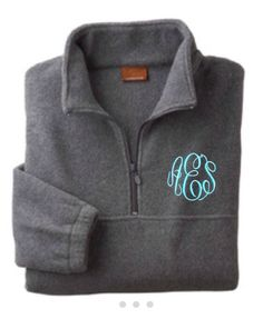 Cute grey fleece monogrammed quarter zip pullover:)