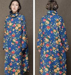 G22 Chinese Vintage Ethnic Bohemia Doll Collar Women's Quilted Coat Jacket Dress #Ge #BallGown #Casual