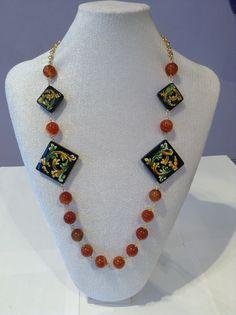 Ceramica di Caltagirone. Seashell Jewelry, Beaded Jewelry, Jewelry Necklaces, Beaded Necklace, China Jewelry, Art Deco Jewelry, Fashion Necklace, Quilling, Jewelry Making