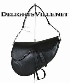 dc07c749c16 Christian Dior SVG44001S Logo Grained Calf Leather Saddle Handbag Silver    Black patent grained calf leather