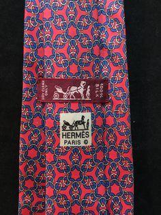8eefbb2040e2 HERMÈS 100% Silk Tie - Chain Link Flower Pattern - 7520 IA Blue & Red