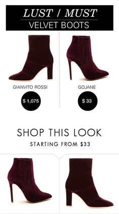 """Lust/Must: Velvet Boots"" by polyvore-editorial ❤ liked on Polyvore featuring Gianvito Rossi and lustmust"