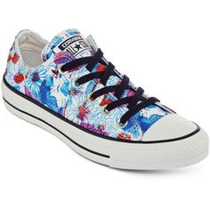 Converse Chuck Taylor All Star Daisy Print Sneakers ($50) ❤ liked on Polyvore featuring shoes, sneakers, lace up shoes, converse shoes, converse trainers, lace up sneakers and star shoes