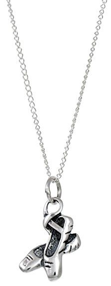 Sterling Silver Ballet Shoes Necklace - 17mm x11mm. Incl. 18 inch silver chain and gift box.