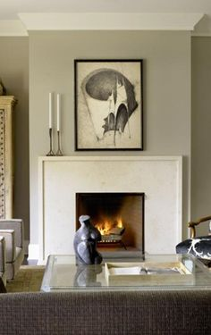 We adore the small and clean lip on this fireplace in Michael del piero eclectic traditional transitional living room. Her distinct aesthetic fuses rough with luxurious and ancient with modern. Modern Fireplace, Fireplace Mantle, Living Room With Fireplace, Fireplace Surrounds, New Living Room, Fireplace Design, Living Room Decor, Simple Fireplace, Modern Mantle
